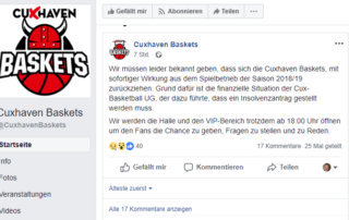 Insolvenz der Cuxhaven Baskets