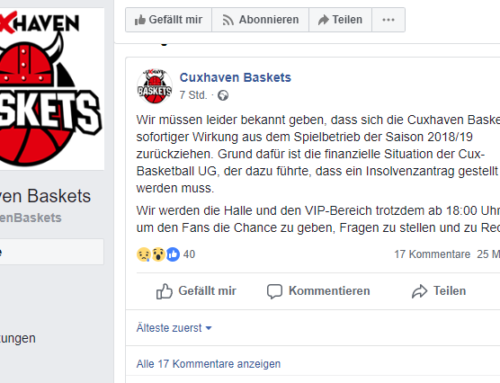 Cuxhaven Baskets stellen Spielbetrieb sofort ein