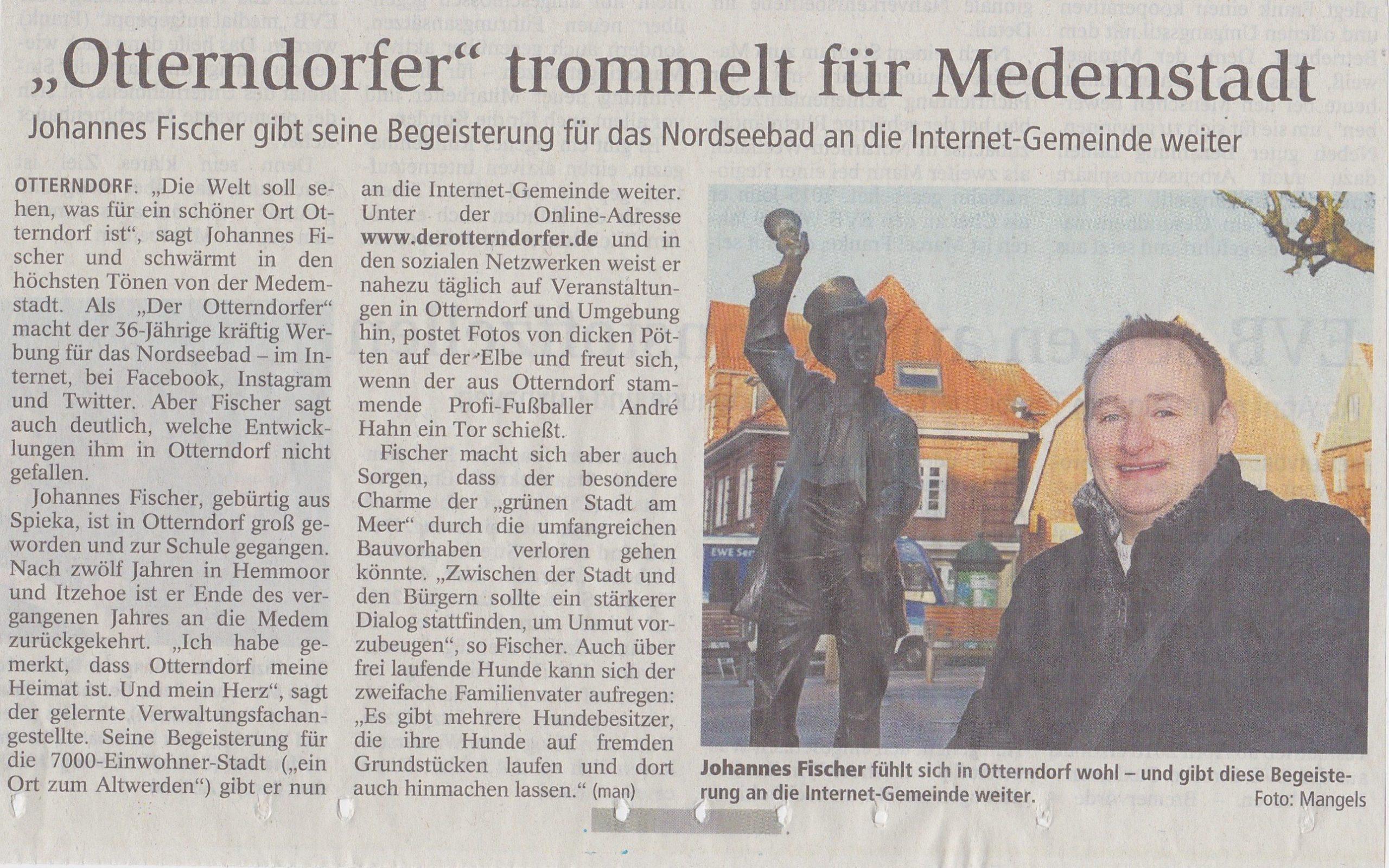 Zeitungsartikel - Der Otterndorfer trommelt für die Medemstadt