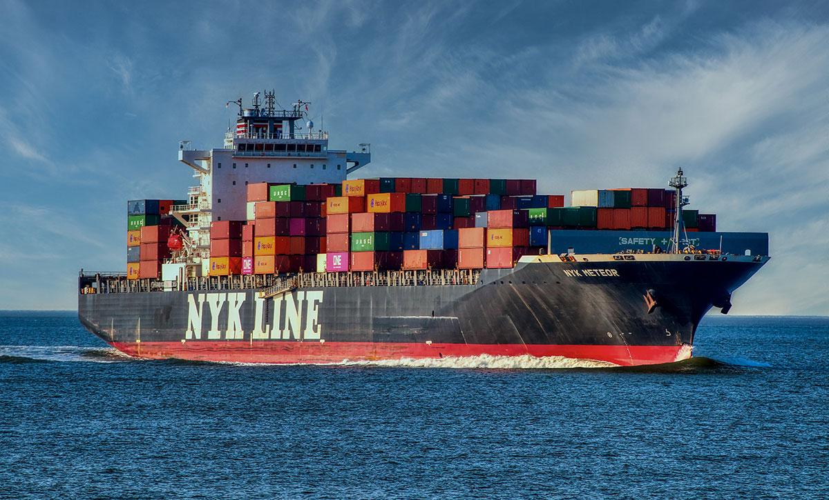 Containerschiff auf der Nordsee