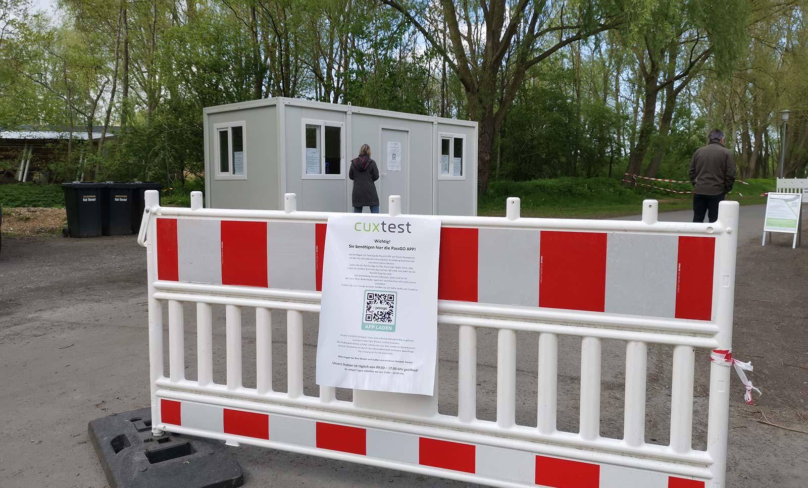 Corona-Testzentrum am Großraumparkplatz in Otterndorf